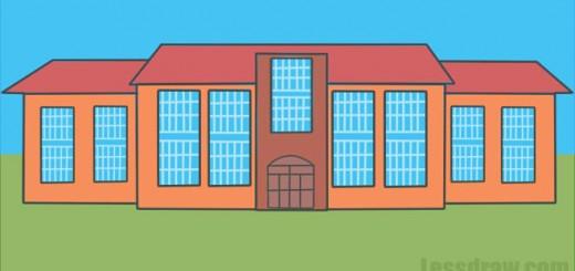 Как нарисовать школу карандашом