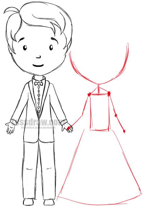 210Как нарисовать жениха с невестой карандашом поэтапно