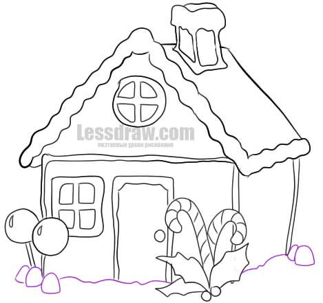 Как нарисовать пряничный домик