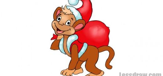 как нарисовать обезьяну новый год 2016