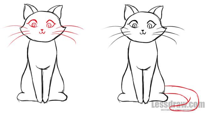 Как нарисовать кота Рисунок кота поэтапно карандашом 10