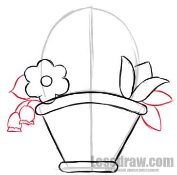 как нарисовать корзинку карандашом