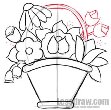 как нарисовать корзинку пошагово