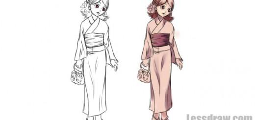 как нарисовать кимоно поэтапно