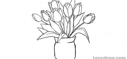 нарисовать вазу с цветами