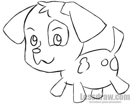 пошаговый рисунок щенка