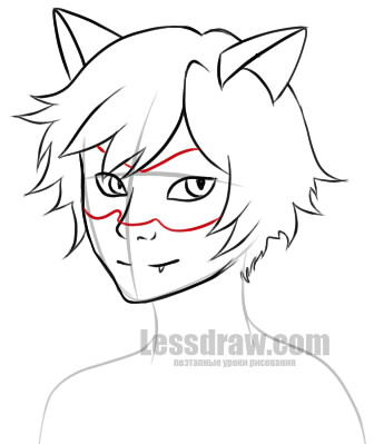 Как нарисовать супер кота лицо