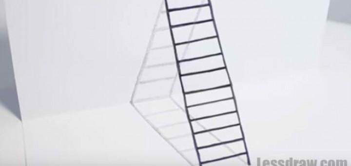Как нарисовать 3д лестницу на бумаге поэтапно