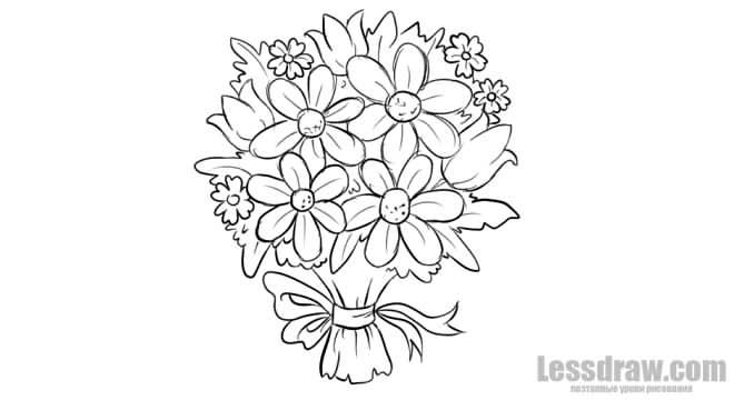 картинки букет цветов для срисовки