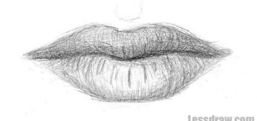 как нарисовать губы карандашом