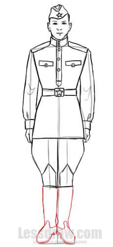 карандашом военный одежды рисунок