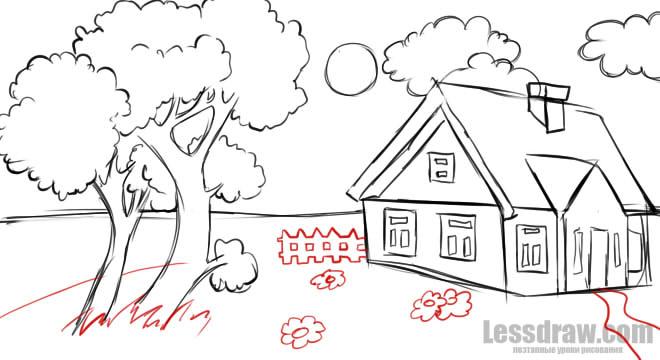 Картинки нарисованные карандашом природа не сложно поэтапно