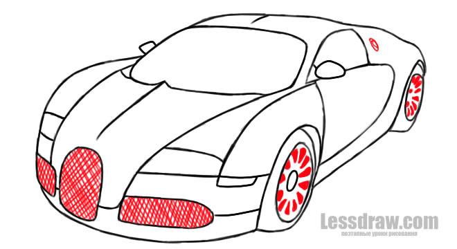 как нарисовать гоночную машину