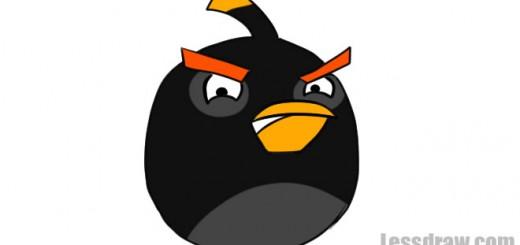 Как нарисовать черную птицу из Angry Birds