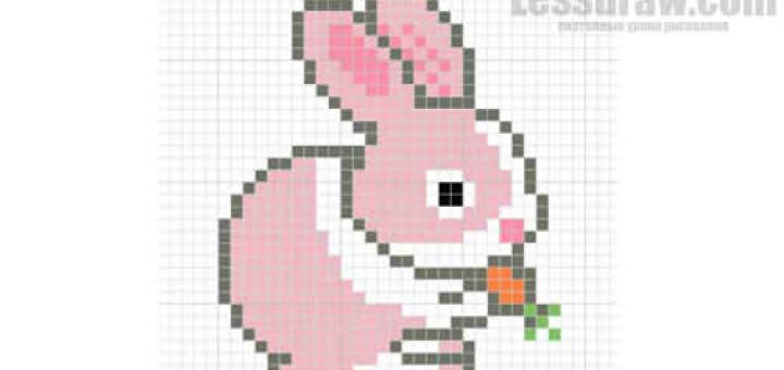 Как рисовать по клеточкам зайчика картинка