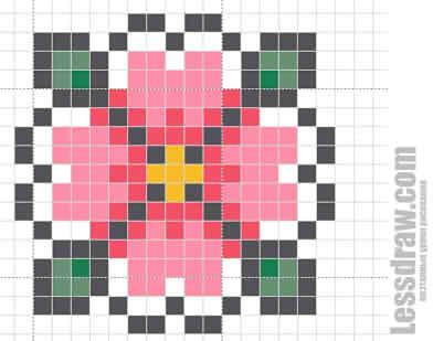Как нарисовать по клеточкам цветок
