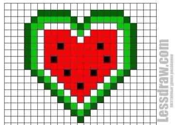 Как нарисовать по клеточкам арбузное сердце