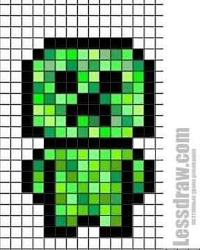 Как нарисовать по клеточкам крипера из Майнкрафт