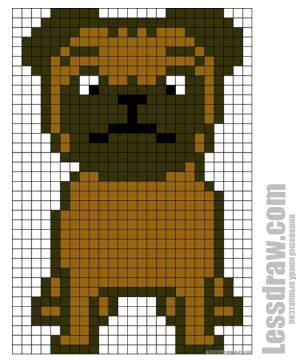 Как нарисовать по клеточкам собаку