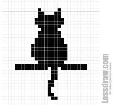 Как нарисовать по клеточкам кошку