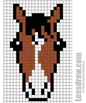 Как нарисовать по клеточкам лошадь