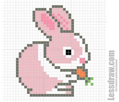 Как нарисовать по клеточкам зайчика