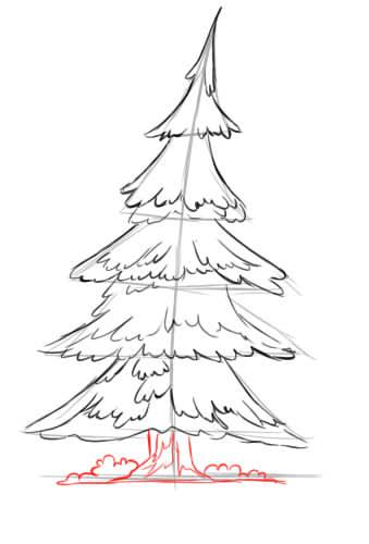 Как нарисовать елку карандашом поэтапно