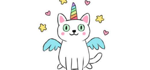как нарисовать кошку единорога