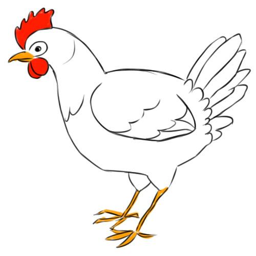 как нарисовать курицу