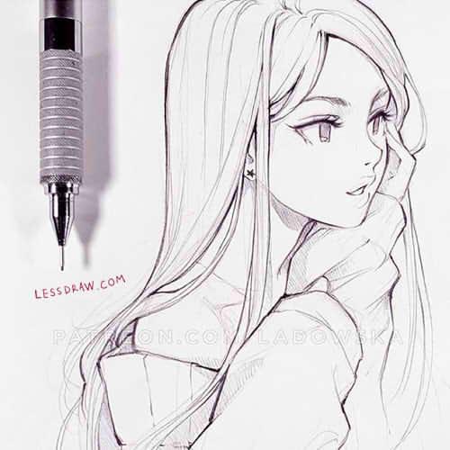 простое аниме для срисовки